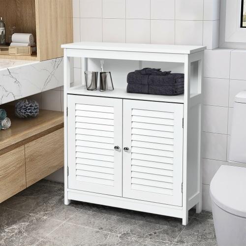 Costway Bathroom Wood Storage Cabinet w/ Double Shutter Door Perspective: back