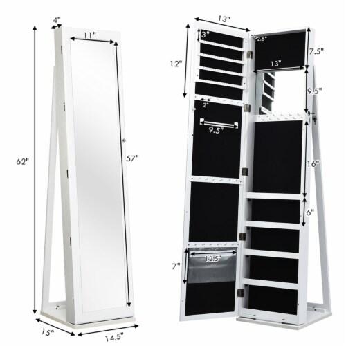 Costway Mirrored Jewelry Cabinet Lockable Standing Storage Organizer W/ Shelf Perspective: back