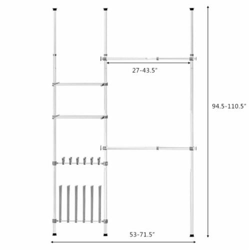 Gymax Double 2 Tier Telescopic Garment Rack Cloth Closet Organizer w/Shoe Rack & Shelf Perspective: back