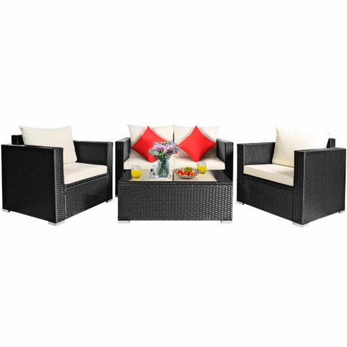 Costway 4PCS Patio Rattan Furniture Set Cushioned Sofa Chair Coffee Table Off White Perspective: back