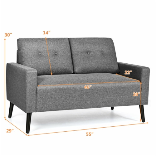 Costway Modern Loveseat Sofa 55'' Upholstered Chair Couch with Soft Cloth Cushion Grey Perspective: back