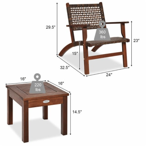 Gymax 3PCS Rattan Patio Chair & Table Set Outdoor Furniture Set w/ Wooden Frame Perspective: back
