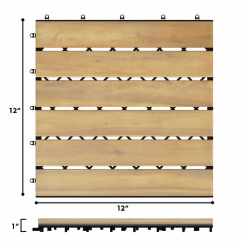 Costway 10PCS 12'' x 12'' Acacia Wood Deck Tiles Interlocking Patio Pavers Stripe Pattern Perspective: back