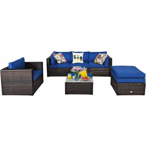 Costway 6PCS Patio Rattan Furniture Set Sofa Coffee Table Ottoman Navy Perspective: back