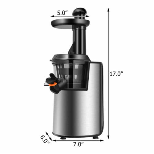 Costway Slow Masticating Juicer Cold Press Stainless Steel w/ Brush Perspective: back