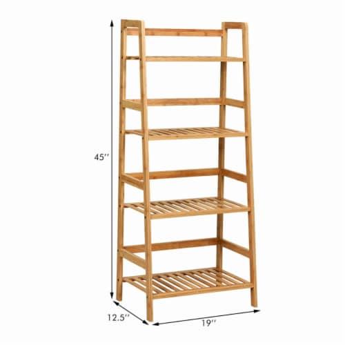 Gymax 4-Tier Bamboo Ladder Shelf Multipurpose Plant Display Stand Storage Bookshelf Perspective: back