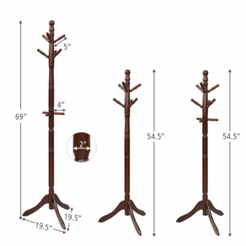 Gymax Wooden Coat Rack Hanger Hall Tree Entryway w/ 9 Hooks 2 Heights Walnut Perspective: back