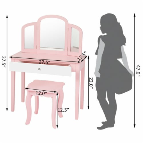 Gymax Kids Vanity Princess Make Up Dressing Table W/ Tri-folding Mirror & Chair Pink Perspective: back