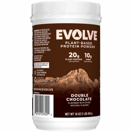 Evolve Double Chocolate Plant-Based Protein Powder Perspective: back