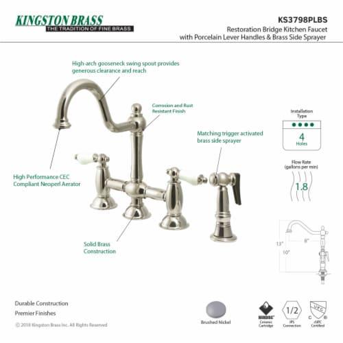 KS3798PLBS Restoration Bridge Kitchen Faucet with Brass Sprayer, Brushed Nickel Perspective: back