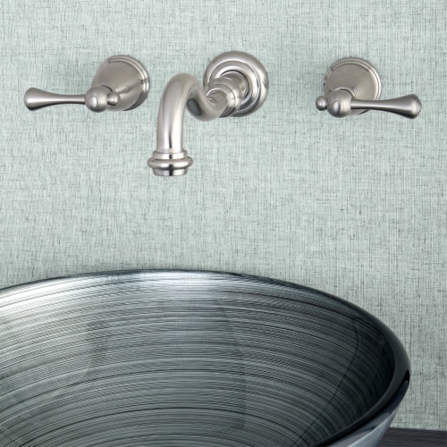 Kingston Brass KS3128BL Wall Mount Bathroom Faucet, Brushed Nickel Perspective: back