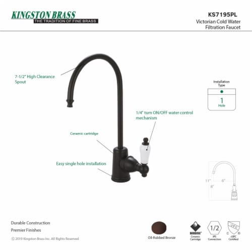 Kingston Brass KS7195PL Victorian Single Handle Water Filtration Faucet, Oil Rubbed Bronze Perspective: back