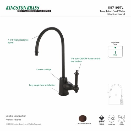 Kingston Brass KS7195TL Templeton Single Handle Water Filtration Faucet, Oil Rubbed Bronze Perspective: back