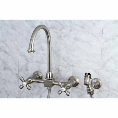 KS1298AXBS Restoration Wall Mount Bridge Kitchen Faucet with Brass Sprayer, Brushed Nickel Perspective: back