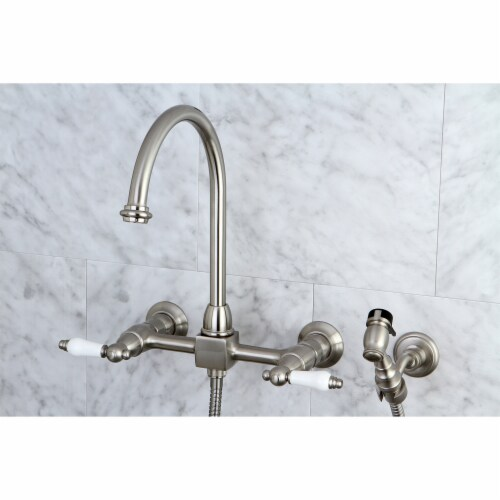 KS1298PLBS Restoration Wall Mount Bridge Kitchen Faucet with Brass Sprayer, Brushed Nickel Perspective: back