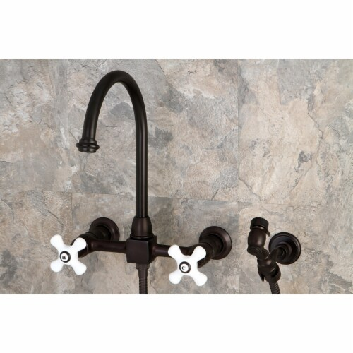 KS1295PXBS Restoration Wall Mount Bridge Kitchen Faucet with Brass Sprayer, Oil Rubbed Bronze Perspective: back