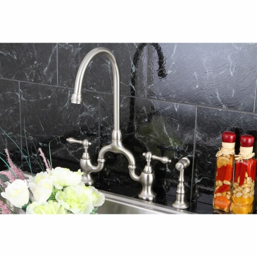 KS7798ALBS English Country Kitchen Bridge Faucet with Brass Sprayer, Brushed Nickel Perspective: back