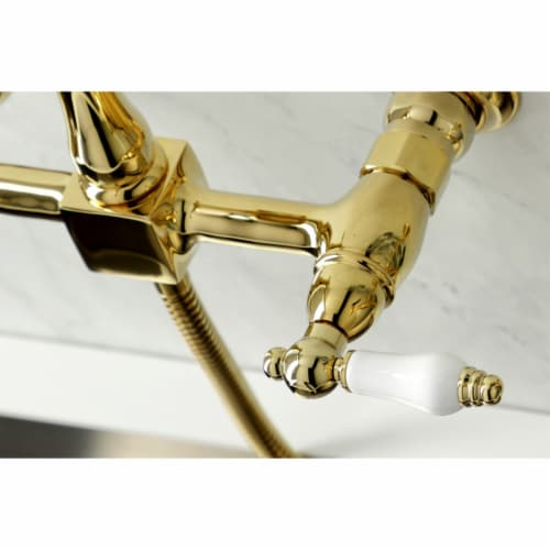 KS1262PLBS Heritage Wall Mount Bridge Kitchen Faucet with Brass Sprayer, Polished Brass Perspective: back
