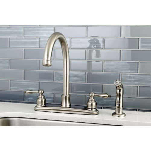 FB7798ALSP Victorian 8-Inch Centerset Kitchen Faucet with Sprayer, Brushed Nickel Perspective: back