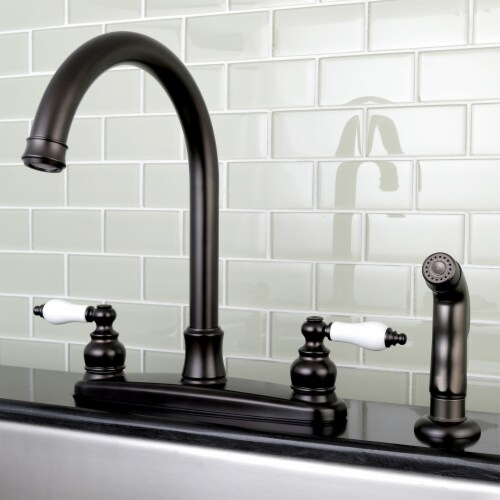 FB7795PLSP Victorian 8-Inch Centerset Kitchen Faucet with Sprayer, Oil Rubbed Bronze Perspective: back