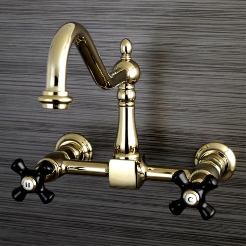 Kingston Brass KS1242PKX Duchess Wall Mount Bridge Kitchen Faucet, Polished Brass Perspective: back