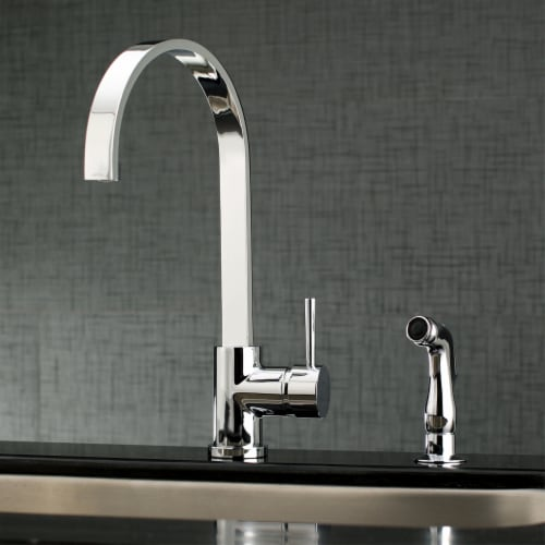Gourmetier LS8711DLSP Concord Single-Handle Kitchen Faucet with Side Sprayer, Polished Chrome Perspective: back