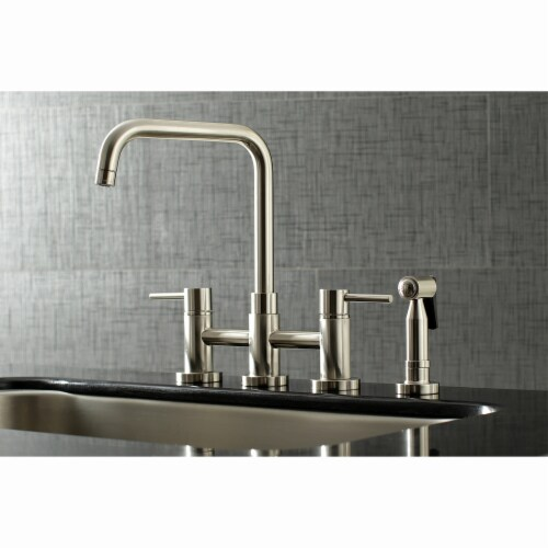 KS8288DLBS Concord Two-Handle Bridge Kitchen Faucet with Brass Side Sprayer, Brushed Nickel Perspective: back