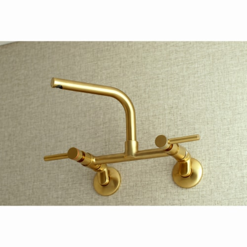 Kingston Brass Concord 8-Inch Adjustable Center Wall Mount Kitchen Faucet, Brushed Brass Perspective: back