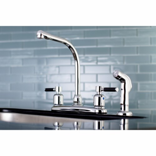 FB751DKLSP Kaiser 8-Inch Centerset Kitchen Faucet with Sprayer, Polished Chrome Perspective: back