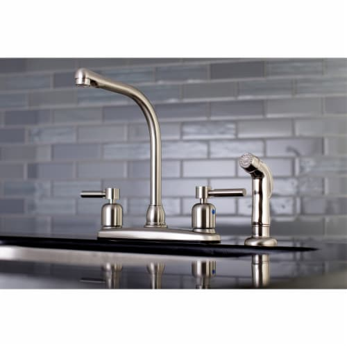 Kingston Brass FB758DLSP Concord 8-Inch Centerset Kitchen Faucet with Sprayer, Brushed Nickel Perspective: back