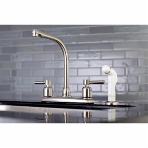 Kingston Brass FB718DL Concord 8-Inch Centerset Kitchen Faucet with Sprayer, Brushed Nickel Perspective: back