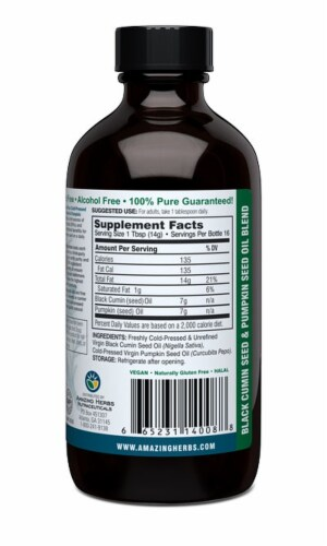 Amazing Herbs Black Seed Oil with Pumpkin Seed Oil Perspective: back