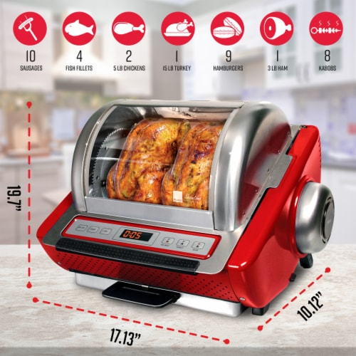 Ronco EZ-Store Rotisserie - Red Perspective: back