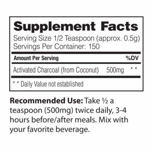 Enzymedica Activated Coconut Charcoal Powder, 75 Grams (150 Servings) Perspective: back