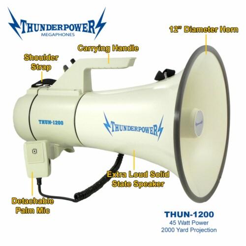 ThunderPower 45W 2000 Yard Sound Range PA Bullhorn Megaphone Speaker with Siren Perspective: back