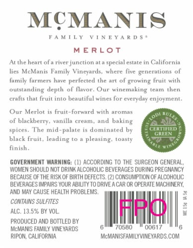McManis Family Vineyards Merlot Red Wine Perspective: back