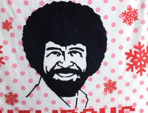 Bob Ross Happy Little Holidays Fleece Softest Throw Blanket Perspective: back