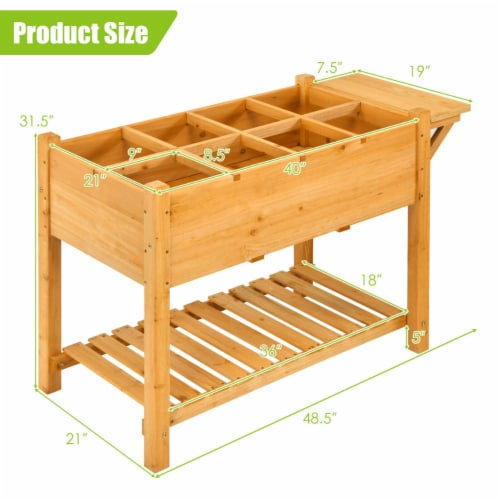 Gymax Raised Garden Bed Elevated Planter Box Kit w/8 Grids & Folding Tabletop Perspective: back