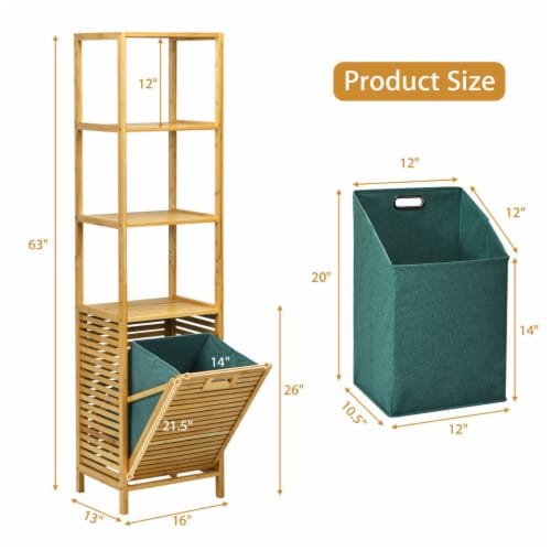 Gymax Bathroom Tilt-out Laundry Hamper Bamboo Tower Hamper w/3-Tier Shelves Perspective: back