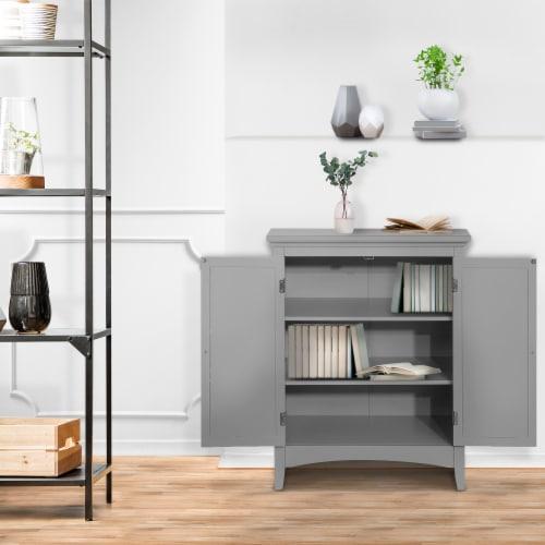 Elegant Home Fashions Bathroom Floor Cabinet & Adjustable Shelves Grey ELG-641 Perspective: back