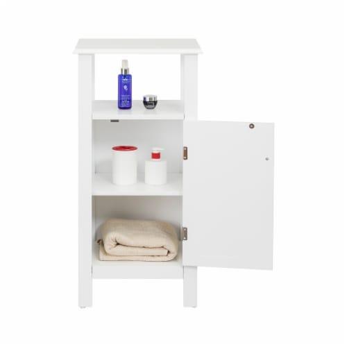 Elegant Home Fashions Wooden Bathroom Floor Cabinet & Shelf 1 Door White S0669 Perspective: back