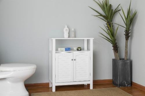 Elegant Home Fashions Wooden Bathroom Floor Cabinet & Shelf 2 Door White S0670 Perspective: back