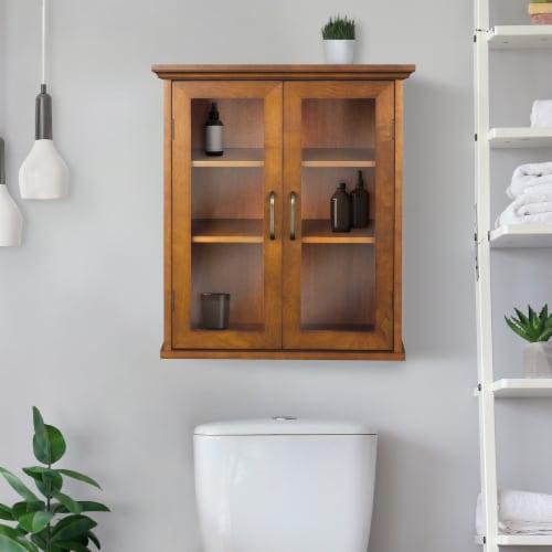 Elegant Home Fashions Wooden Bathroom Wall Cabinet 2 Doors Brown Oak ELG-540 Perspective: back