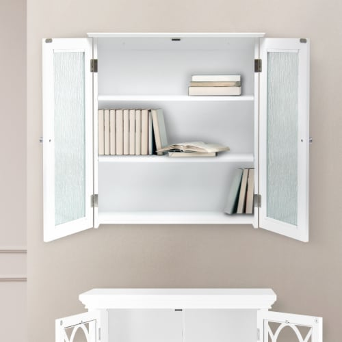 Elegant Home Fashions Bathroom Wall Cabinet 2 Glass Doors White Connor ELG-581 Perspective: back