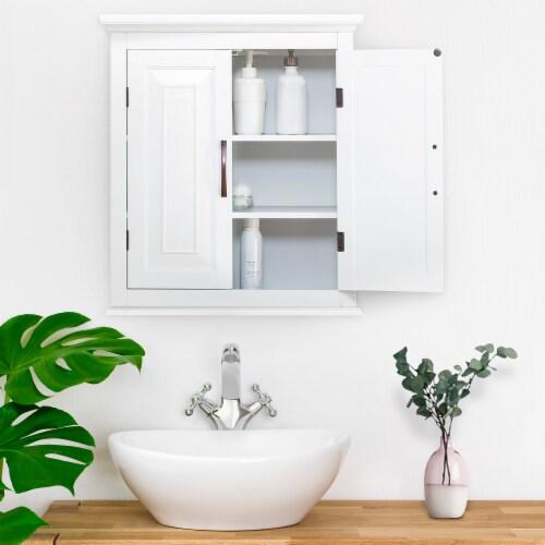 Elegant Home Fashions Wooden Bathroom Wall Cabinet 2 Door White St James ELG-590 Perspective: back