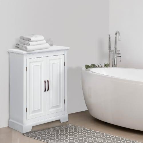 Elegant Home Fashions Wooden Bathroom Floor Cabinet 2 Door White St James ELG-591 Perspective: back