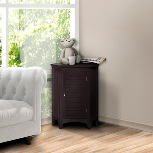 Elegant Home Fashions Wooden Bathroom Corner Cabinet Free Standing Brown ELG-596 Perspective: back