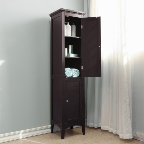 Elegant Home Fashions Wooden Bathroom Cabinet Standing Tall Unit Brown ELG-598 Perspective: back