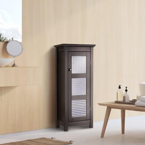 Elegant Home Fashions Wooden Bathroom Cabinet Floor & Glass Door Brown 6216 Perspective: back