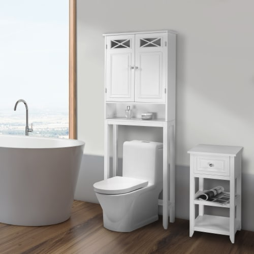 Elegant Home Fashions Bathroom Cabinet Over Toilet 2 Doors & Shelf White 6803 Perspective: back